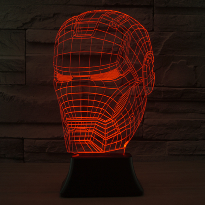 Free shipping Iron Man Mask Style 3D table lamp christmas led lamp Decor Living Room Night Light Best Gift For Child And Friends(China (Mainland))