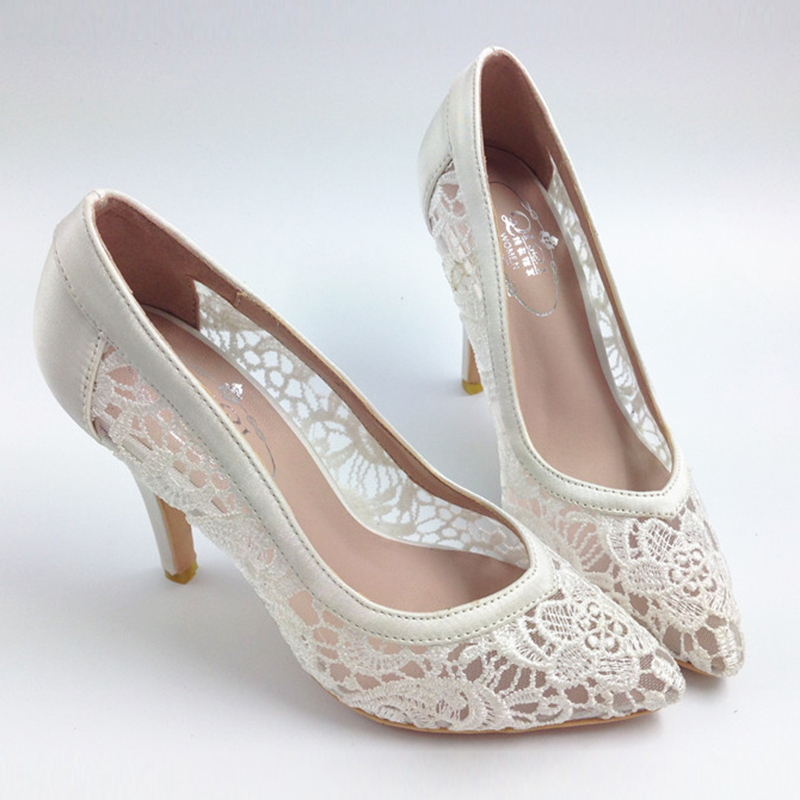 Гаджет  2014 women cutout satin fabric size 33 high heel sexy lace wedding shoes shallow mouth pointed toe genuine leather bride pumps None Обувь