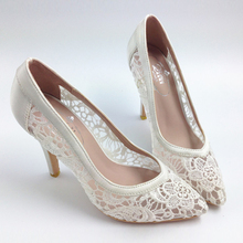 2016 Women Cutout Satin Fabric High Heels Sexy Lace Wedding Shoes Shallow Mouth Pointed Toe Genuine Leather Bride Pumps