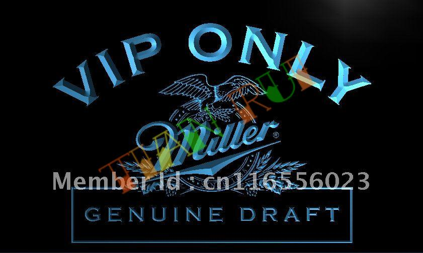 LA423- VIP Only Miller Beer LED Neon Light Sign(China (Mainland))