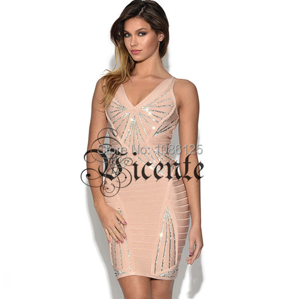 Free Shipping! 2014 Runway Top Design VNeck Luxe Beads Bodycon Bandage Dress Cocktail Dress Party Dress Club DressОдежда и ак�е��уары<br><br><br>Aliexpress