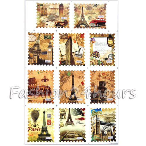 Free Shipping 11 Designs Vintage Tower Decorative Stickers Nail Art Decorations Water Transfer Postage Stamp Decal(China (Mainland))
