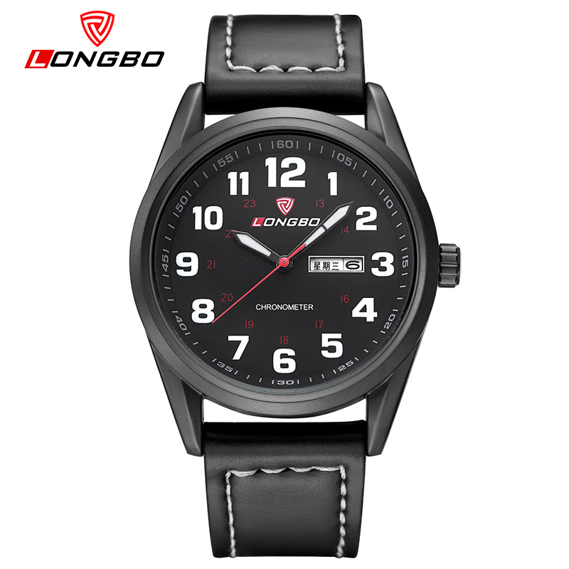 LONGBO Top Luxury Brand Men sample Watch style fashion Leather Watches Relogio Masculino Casual Quartz Wrist Watch digital date(China (Mainland))