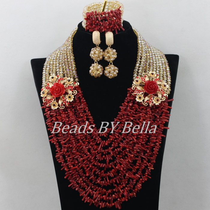Luxury Red Coral Beads African Costume Jewlery Set Hot Bridal Lace Jewelry Sets Nigerian Beads Necklace Free Shipping ABF357(China (Mainland))