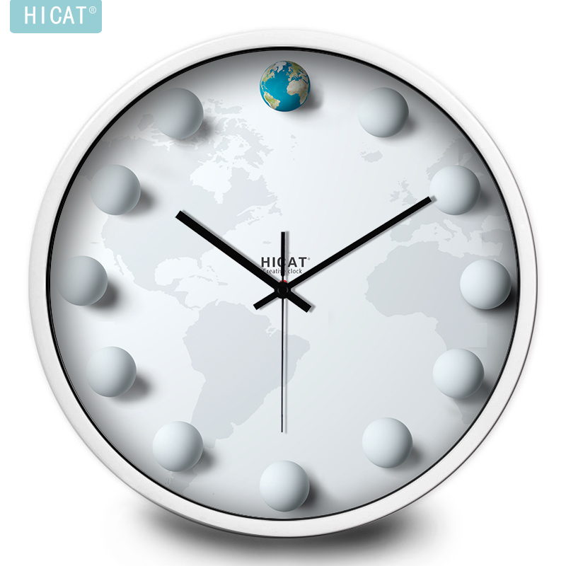 HICAT crazy cat creative personality Earth sphere bedroom wall living room wall clock simple atmosphere wild tide(China (Mainland))