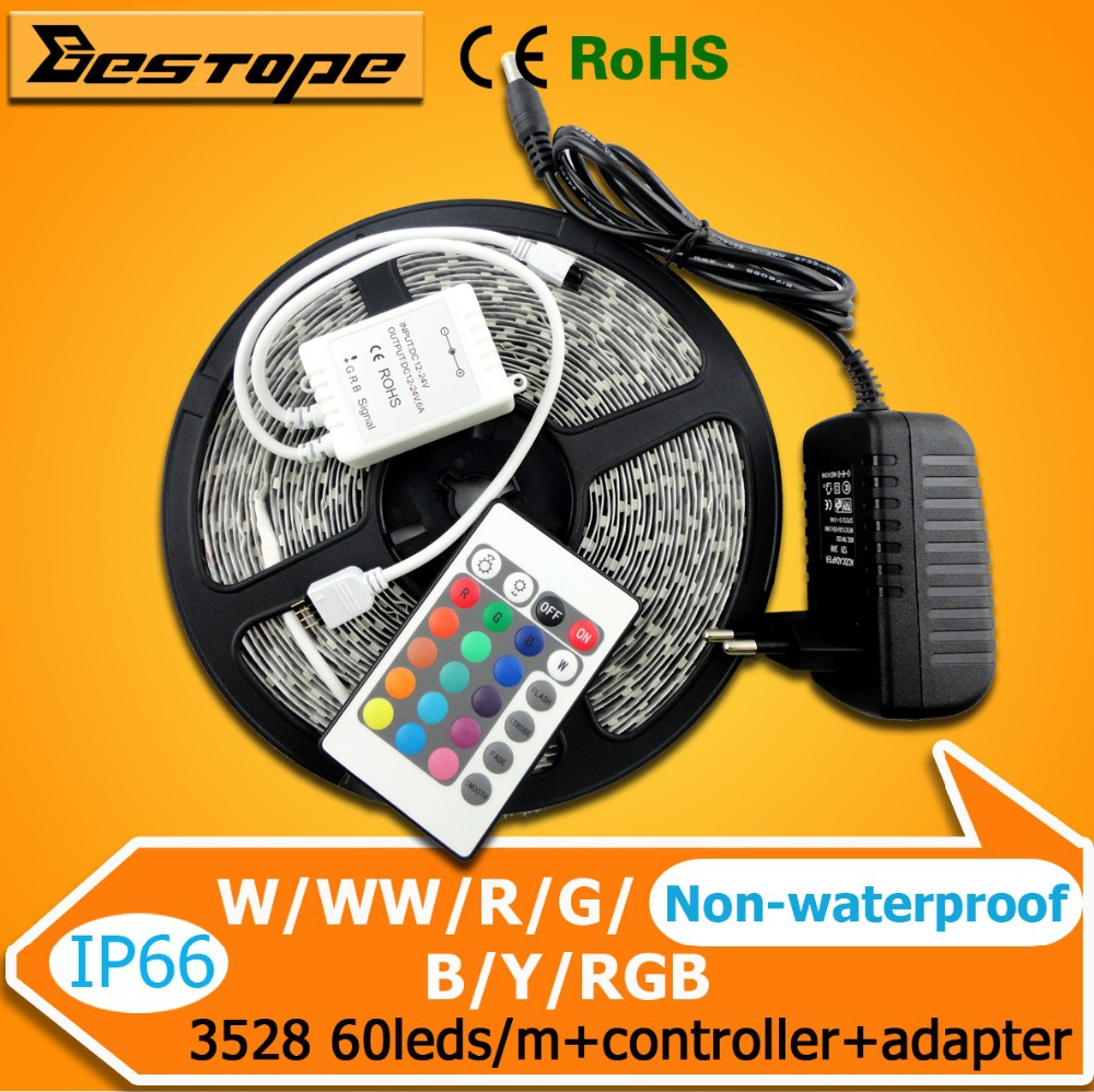 5M 12V RGB 3528SMD Non-Waterproof LED Strip Flexible Light Table 60LEDs/M+24W Power Adaper Supply ,Only IR Controller - ShenZhen Bestope Technology Limited store