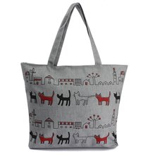 Buy ASDS-Women Canvas Lady Shoulder Bag Handbag Tote Shopping Bags Zip Multi Pattern Cats for $4.86 in AliExpress store