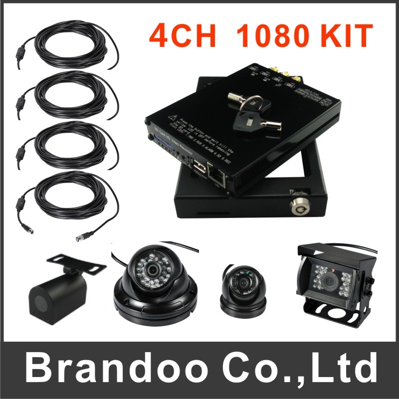 4CH 1080P HD CAR DVR, 4ch Mobile DVR with Wifi for School Bus/Police car,4PCS CAMERA+4PCS CABLE(China (Mainland))