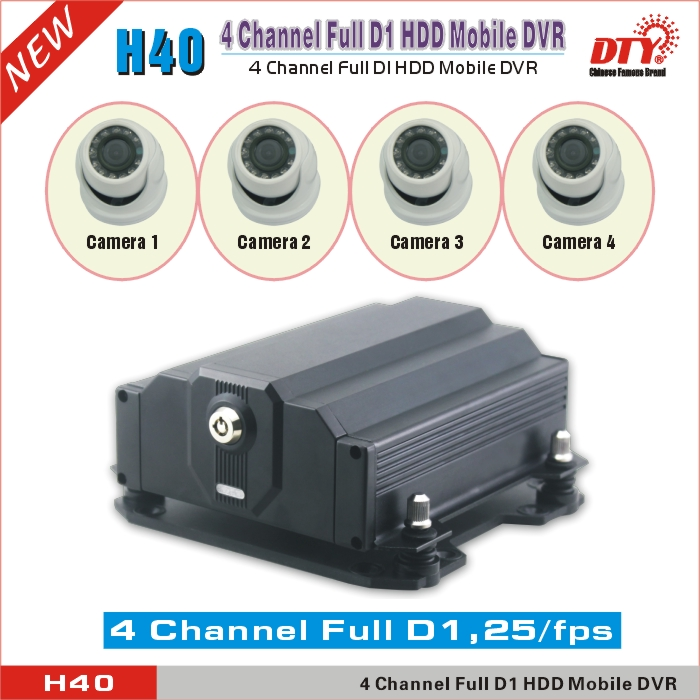 Mini Realtime Playback Full D1 4CH HDD vehicle mobile DVR with GPS 3G WIFI, H40-4G(China (Mainland))