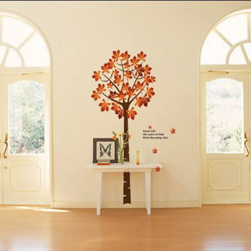 1pcs Cartoon Maple Tree Wall Sticker Vinyl Decals Dining Room Living Rooom Bedroom Home Accessories Poster Mural vinilos paredes(China (Mainland))
