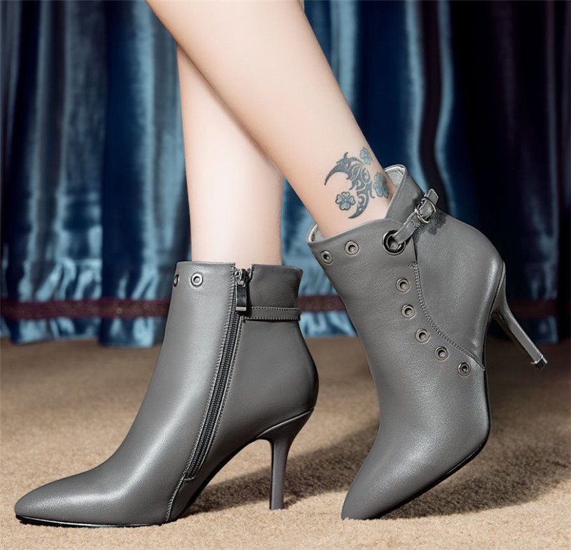 Фотография 2015 New Winter Full Grain Leather Ankle Boots Spring Autumn Zipper Thin High Heels Sexy Shoes Ladies Women Short Boots