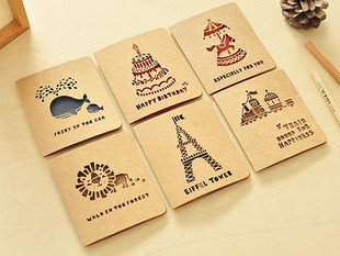Hot Sale Beautiful Hollow Greeting Card Vintage Pattern New Year Envelopes Nine Styles Creative Gift Promotional Nice Card PL(China (Mainland))