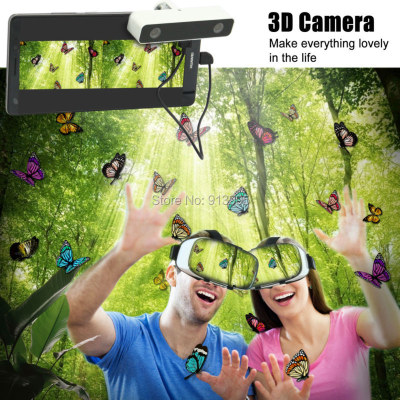 Virtual Reality Smartphone 3D Glasses VR Headset Box Set with Mini 3D effect VR virtual reality Camera for Android Mobile Phone