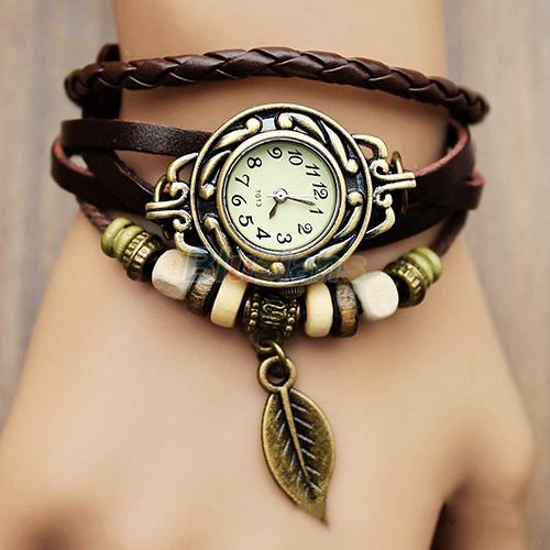 New Hot Sale Original High Quality Women Genuine Leather Vintage Watches Bracelet Wristwatches Leaf Pendant 1NU5(China (Mainland))