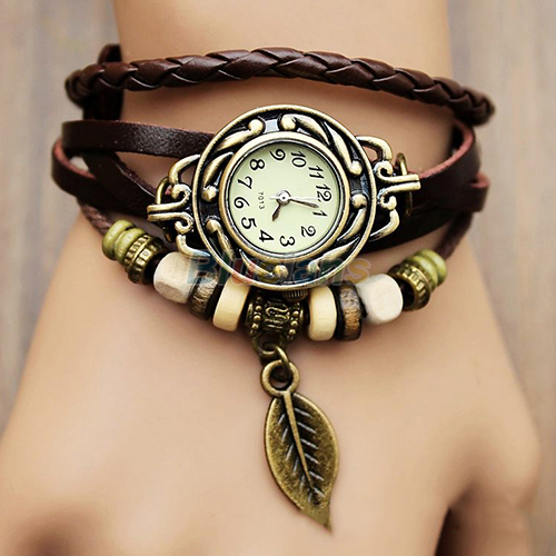New Hot Sale Original High Quality Women Genuine Leather Vintage Watches Bracelet Wristwatches Leaf Pendant 1NU5(China (Mainland))