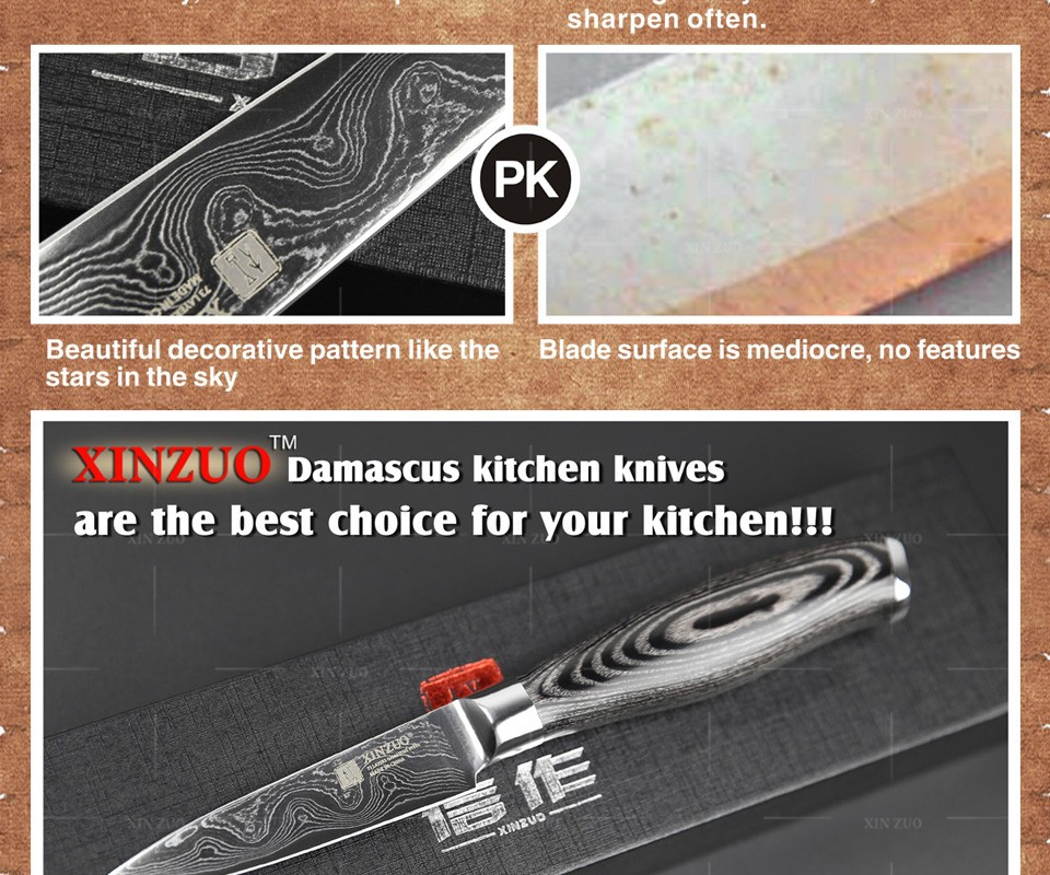 """Buy 3.5"""" inch paring knife damascus Japan Damascus kitchen knife sharp peeling fruit knife with Color wood handle free shipping cheap"""