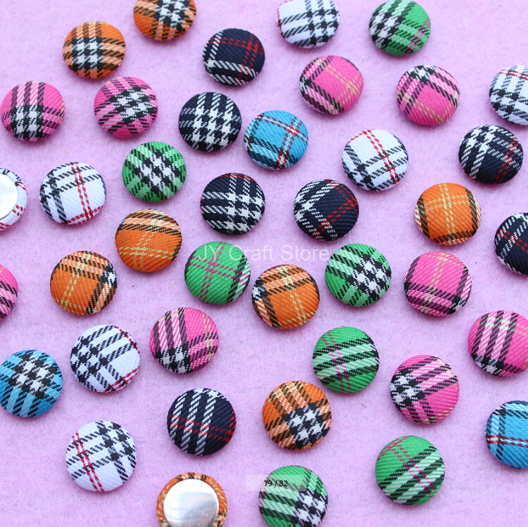 Set of 100pcs Scotticize font b Tartan b font Fabric Cover Buttons 15mm Handmade FlatBack Wrapped