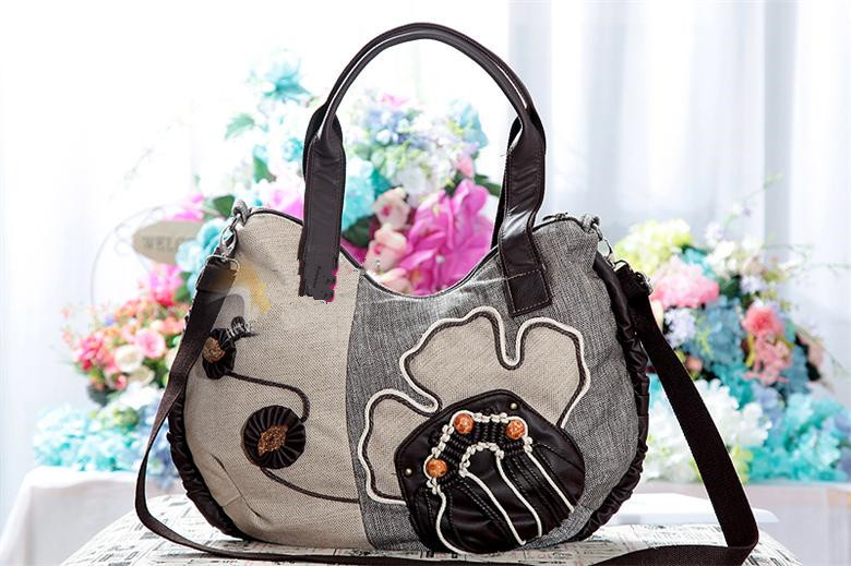 Free Shipping !Top-quatity Hot-Appliques type Lady shoulder bag women casual carry bag shoulder party bags holder(China (Mainland))