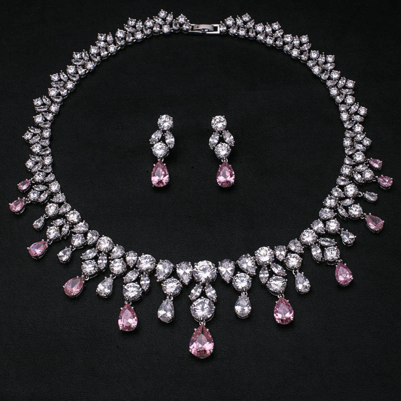 Buy pink wedding platinum plated aaa for Pink wedding jewelry sets