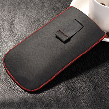 New Red border Top grade Universal Holster skin Waist Leather Pouch Cover Case For Elephone P6000 Pro