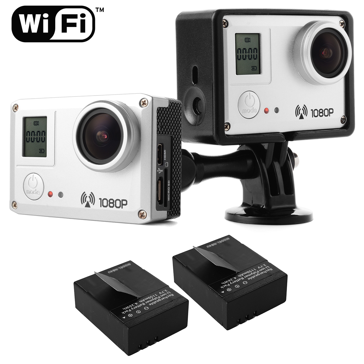 Silver WIFI 20MP Full HD 1080P H.264 170 Degree Wide Angle Action Sport Camcorder Camera Waterproof 30M LF717(China (Mainland))
