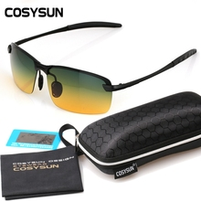 2016 Day Night Vision Goggles Driving Polarized Sunglasses for men's car Driving Glasses Anti-glare Alloy Frame glasses night(China (Mainland))