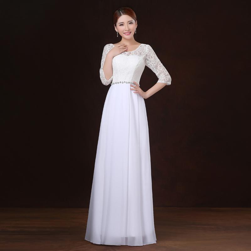 2016 summer autumn dinner design long white evening dress female party dresses lace halp sleeve O neck formal dress(China (Mainland))