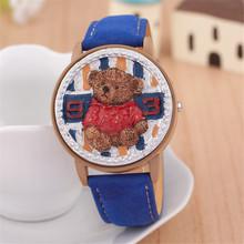 Relogio masculino del cuarzo de hombre, mujeres oso encantador estilo británico reloj digital. caliente venta de los niños de la historieta relojes de pulsera