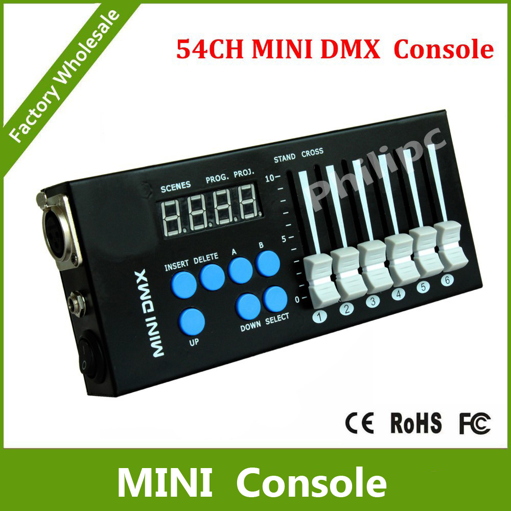 DHL Free Shipping 54CH DMX console 12V DC powered with 9 programs, 6 faders by 9 pages, can control any DMX 512 stage lighting<br><br>Aliexpress