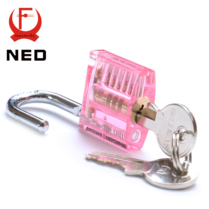 NED Pink Transparent Design Modern Style Visible Pick Cutaway Mini Practice View Padlock Lock Training Skill For Locksmith(China (Mainland))