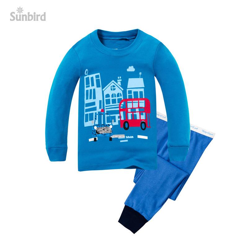 P769, bus, 6sets/lot, Children boys pajamas, 100% cotton rib, long sleeve sleepwear/clothing sets for 2-7Y<br><br>Aliexpress
