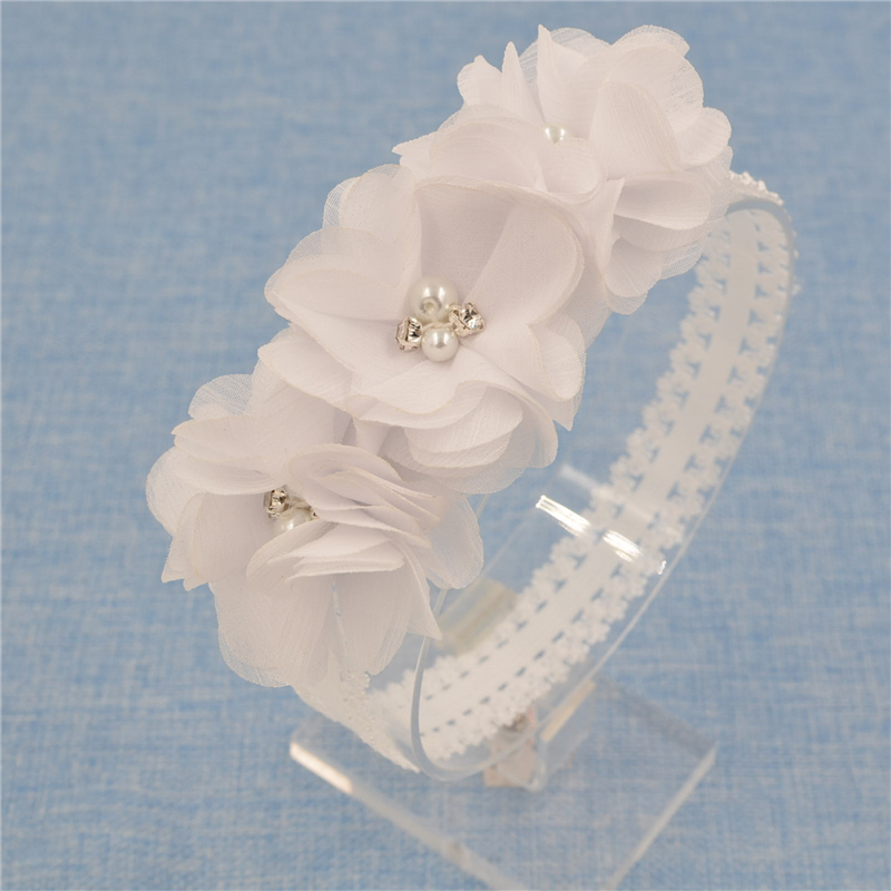 1 Pieces Newborn Baby Headband Chiffon 3 Flower Pearl crystal Diamond with A Shimmer Headbands Elasticity Baby hair accessories(China (Mainland))