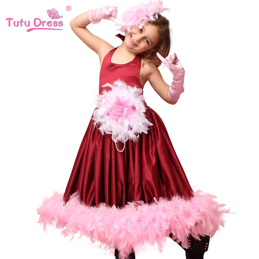 Hot Style Female child girl feather dress girl little angel red feather dress costume girl swan dress feather dance dress(China (Mainland))