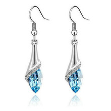 Fashion Austria Water Drop Plated Silver dangle long Earrings for Women 2016 new Earrings for Women Jewellery(China (Mainland))