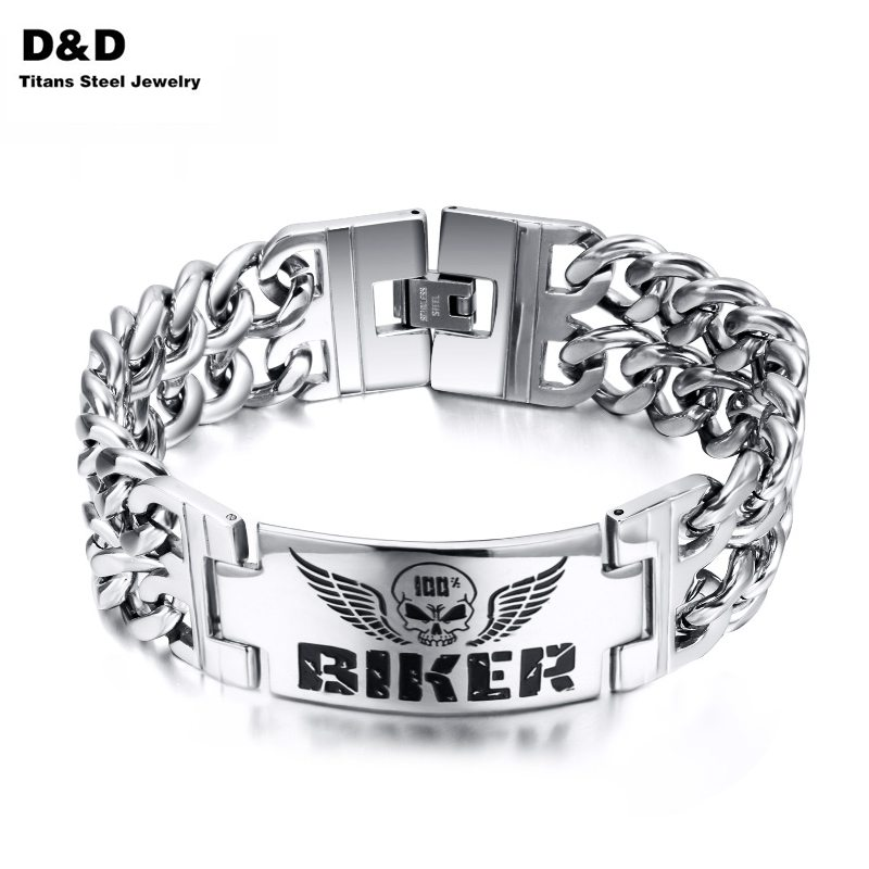 Biker Bracelets Men's Jewelry 316l Stainless Steel Skull Double Chain Charm Gift BR-130S(China (Mainland))