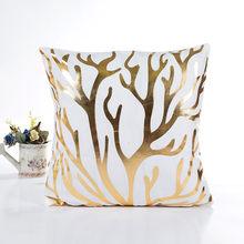2019 חדש אופנה נוח רב דפוס ביתי זהב לסכל הדפסת מקרה כרית ספה מותניים לזרוק כרית כיסוי עיצוב בית(China)