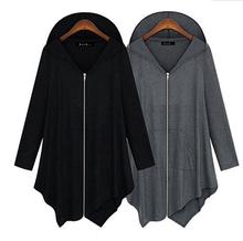 Zipper Irrrgular Women Hoodies Solid Cotton Loose Coat Casual Women Lady Fashion Leisure Long Sleeve Clothing Plus Size RY1631(China (Mainland))