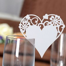 Buy 50pcs/set Glass Place Cards New Love Heart Place Escort Wine Glass Card Cup Wedding Party Festival Decoration Home Decor for $2.55 in AliExpress store