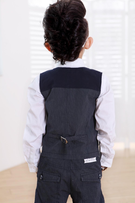 Baby Boy Vest Spring 2015 New Fashion Child Clothing Gentleman V-neck Kids Waistcoat Blue Beibei 2-10 Year Vest For Boys(China (Mainland))