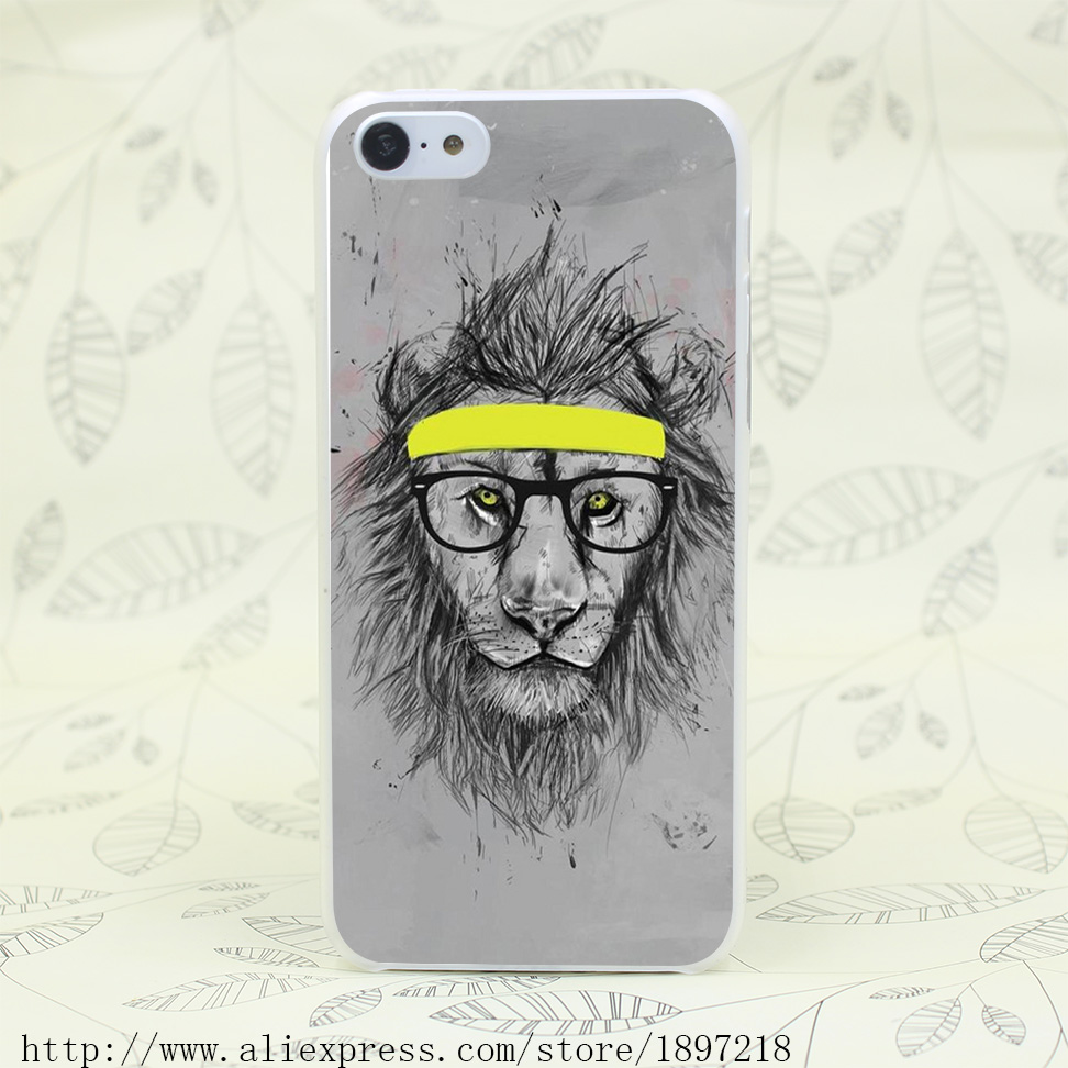 2639T Hipster Lion Hard Transparent Cover Case for iphone 4 4s 5 5s 5C SE 6 6s Clear Cell Phone Cases(China (Mainland))