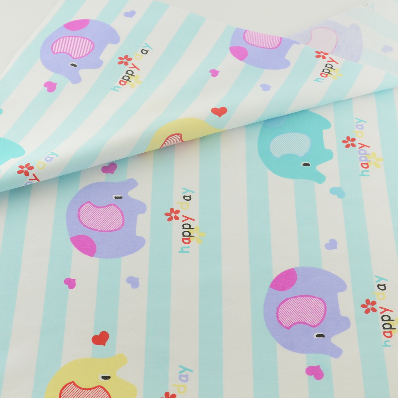 Quilting Bedding Decoration Tissue Home Blue Elephant Cotton Fabric Textile Patchwork Sewing Cloth Craft Teramila Fabrics Tecido(China (Mainland))