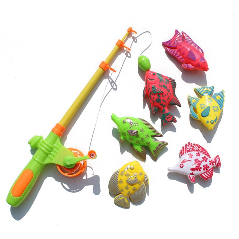 HOT Magnetic Fishing Toy With 6 fishes And a Fishing Rod Outdoor Fun & Sports Fish Toy Gift for Baby/Kids Free Shipping