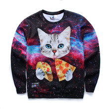 2016 fashion youth spring Autumn thin sweatshirts girls big kids funny 3D pizza kitten printed jogger hoodies boy W2(China (Mainland))