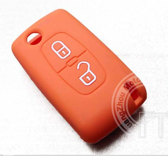 Peugeot Folding Flip Key Fob Silicone Shells Replacement With White Emblem Logo For 207 307 308 508 2008 3008 5008 Free Shipping(China (Mainland))