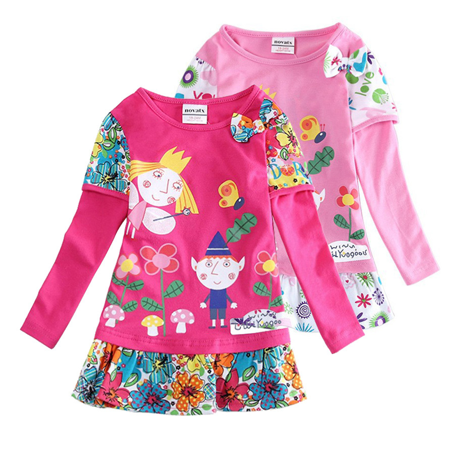Hot sale girls dresses nova baby kids clothes ben and holly long sleeve flower vestidos children party casual dress(China (Mainland))