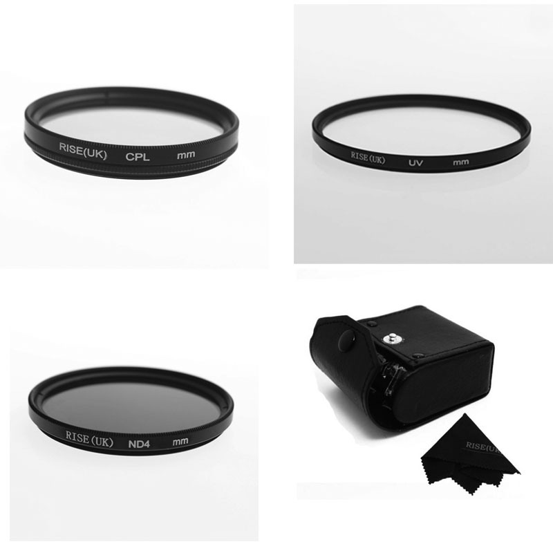 RISE(UK) 62mm UV+CPL+ND4 Filter Camera Filters Kit with Case for Canon Nikon Sony DSLR Camera(China (Mainland))
