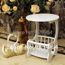 White exquisite fashion small tea table,magazine rack, bookshelf,solid wood furniture,solid wood table,small table,sofa corner