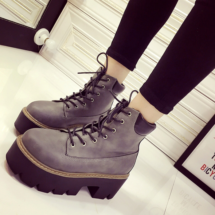 Autumn and winter 2015 new shoes with short thick rough boots LACE BOOTS Martin locomotive British Wind fall boots<br><br>Aliexpress