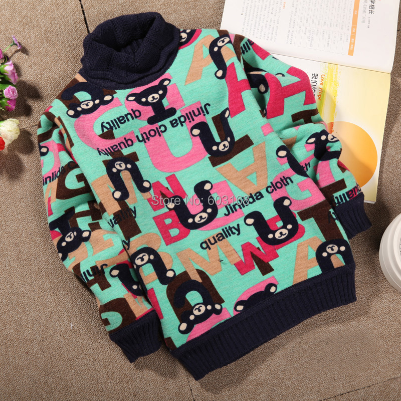 Character Turtleneck Collar Warm Baby Kid Sweater Cashmere Sweater Thickened With Velvet Children Wear Sweaters {iso-14-8-12-A2}<br><br>Aliexpress