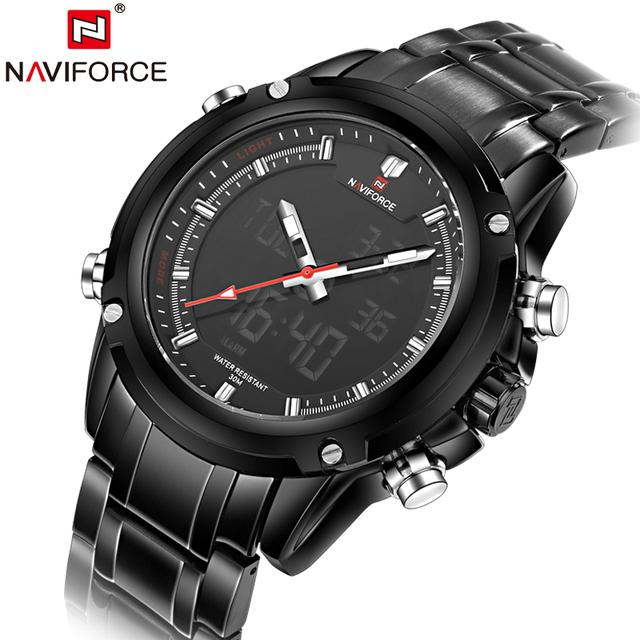 2016 relojes хомбре Naviforce календарная 9050 цифровой спортивные часы кварцевые мужские роскошный черный военный из светодиодов мужчины наручные часы полный стали Relogio